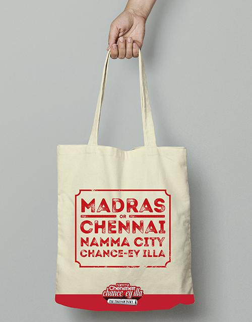 Tote bag | Madras or chennai namma city chance-ey illa - Angi | Tamil T-shirt | Chennai T-shirt