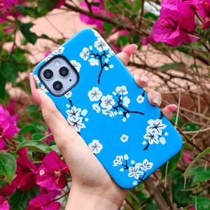 Blue Cherry Blossom iPhone Case | Shockproof