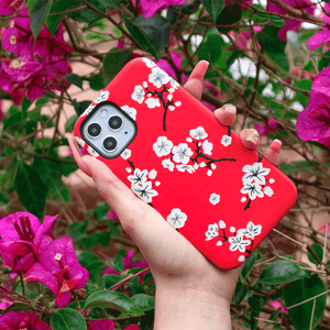 Red Cherry Blossom iPhone Case | Shockproof