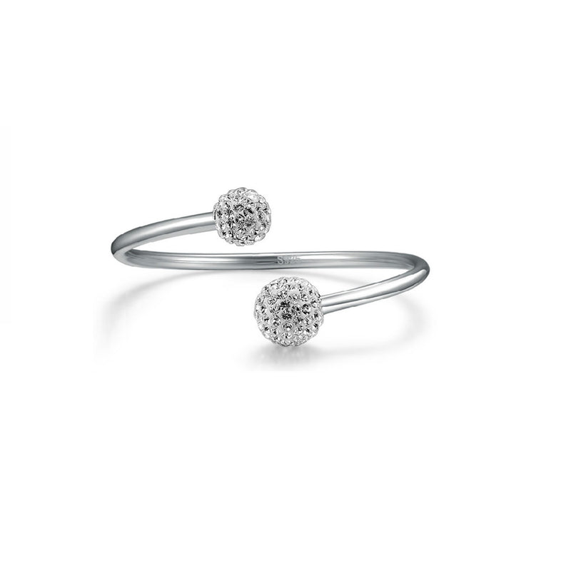 Double Ball Bangle Silver 1