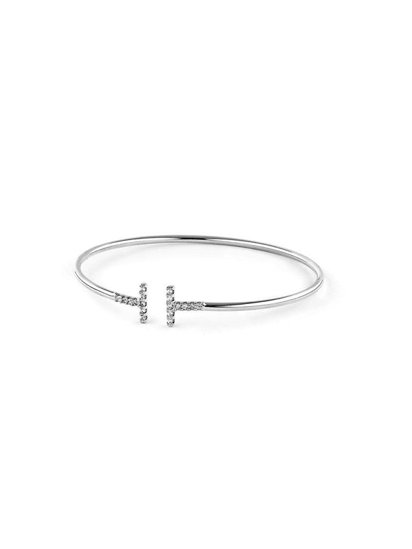 Daisy Crystal Bangle Silver 4