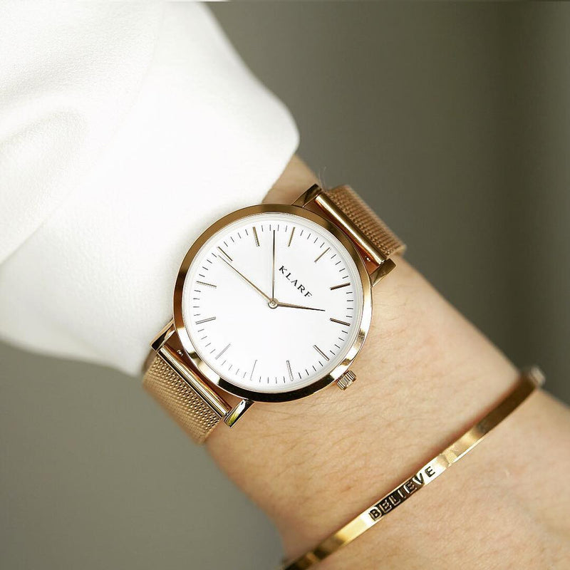 Classic White & Rose Gold 9