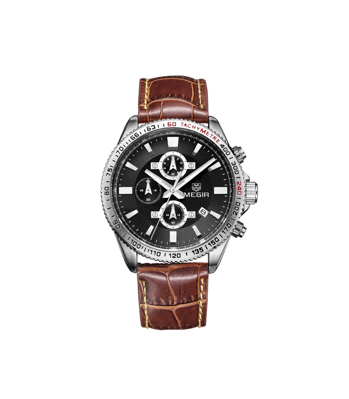 Megir Tachymeter brown leader