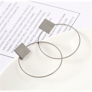 Geo Silver Hoop Earrings