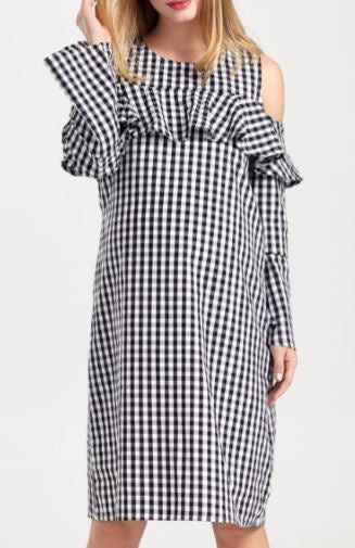 Gingham Cold Shoulder