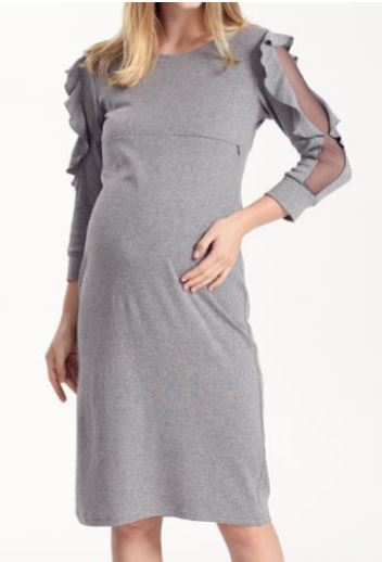 Ruffle Arm Maternity/Nursing Dress