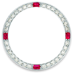 Custom 18k white gold diamond and ruby bezel for 26mm Rolex