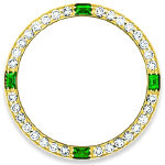 Custom 18k yellow gold diamond and emerald bezel for 26mm Rolex