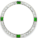 Custom 18k white gold diamond and emerald bezel for 26mm Rolex