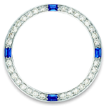 Custom 18k white gold diamond and sapphire bezel