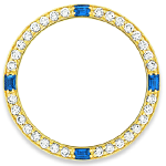 Custom 18k yellow gold diamond and sapphire diamond bezel for 26mm Rolex