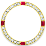 Custom 18k yellow gold diamond and ruby bezel for 26mm Rolex