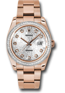 Rolex 18k rose gold Datejust model # 116825, 36mm, with silver anniversary diamond dial and princess diamond bezel