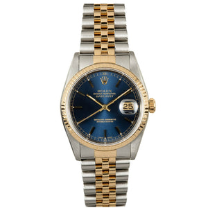 Rolex Steel and Gold Datejust #16233 Blue Dial