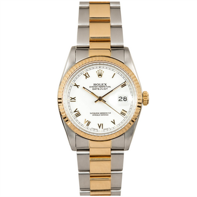 Rolex Steel and Gold Datejust #16233 White Roman Numeral