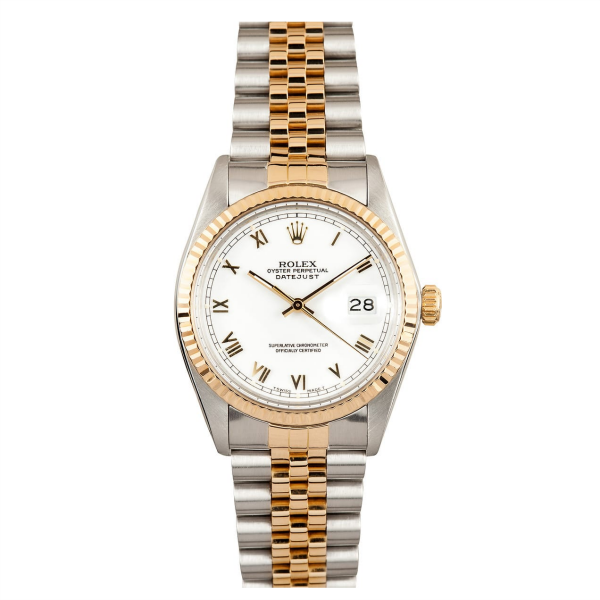 Rolex Steel and Gold Datejust #16233 White Roman Numeral Dial
