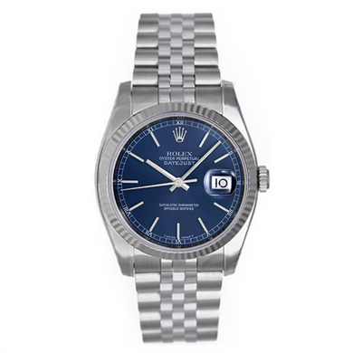 Rolex Steel and White Gold Datejust #16234 Blue Dial