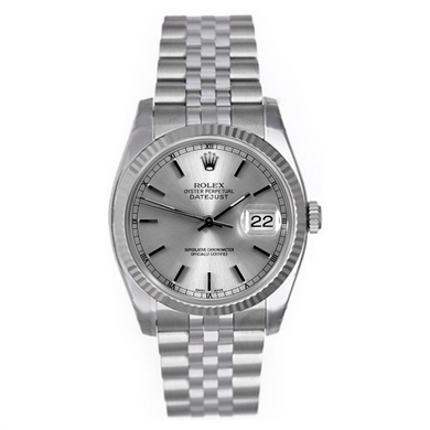 Rolex Steel and White Gold Datejust #16234 Silver Dial