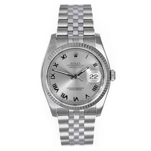 Rolex Steel and White Gold Datejust #16234 Silver Roman Numeral Dial