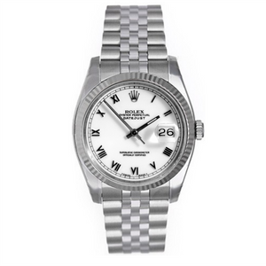 Rolex Steel and White Gold Datejust #16234 White Roman Numeral Dial