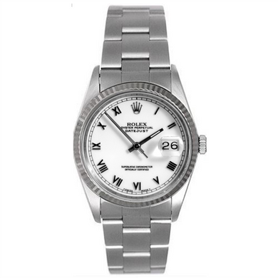 Rolex Steel and White Gold Datejust #16234 White Roman Dial