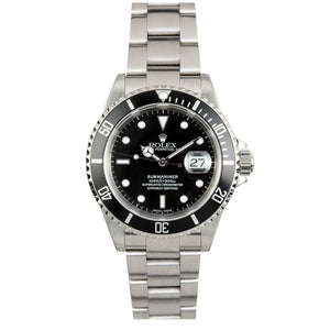 Rolex Steel Submariner Date #16610 Black on Black