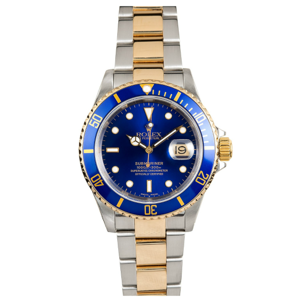 Rolex Steel and 18k YG Submariner Date #16613 Blue Dial