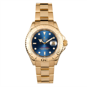 Rolex 18k YG Yachtmaster #16628 Blue Dial