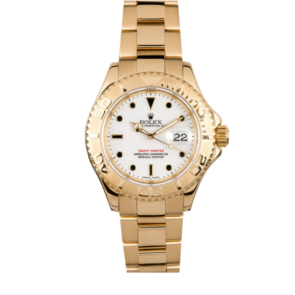 Rolex 18k YG Yachtmaster #16628 White Dial