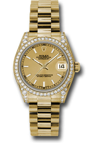 Rolex 18k YG Datejust - 31mm - Mid-Size #178158 chip