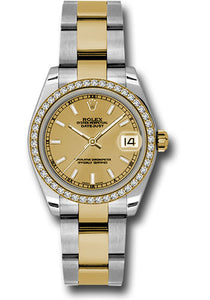Rolex Steel, YG, & Diamond Datejust - 31mm - Mid-Size #178383 chio