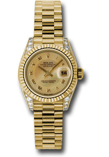 Rolex 18k yg ladies presidential with mop honeycomb dial, & fluted bezel, model # 179238 chmdrp