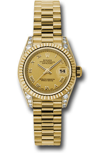 Rolex 18k yellow gold ladies presidential, champagne roman dial, & fluted bezel model #179238 chrp