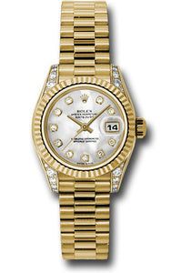 Rolex 18k yg ladies presidential, mother of pearl diamond dial, & fluted bezel, model # 179238 mdp