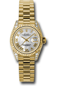 Rolex 18k yellow gold ladies president, mother of pearl roman dial, fluted bezel, model # 179238 mrp