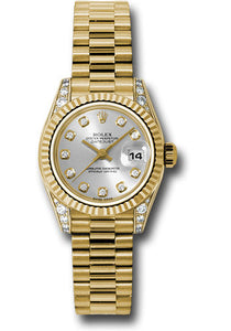 Rolex 18k ladies president, silver diamond dial, fluted bezel, and diamond luggs, model # 179238 sdp