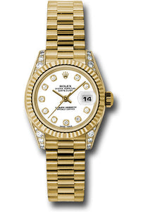 Rolex 18k ladies president, white diamond dial, fluted bezel, diamond luggs, model # 179238 wdp