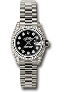 Rolex 18k president, black diamond dial, fluted bezel, diamond luggs, model # 179239 bkdp