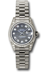 Rolex 18k ladies president, black mother of pearl diamond dial, fluted bezel, diamond luggs, model # 179239 dkmdp