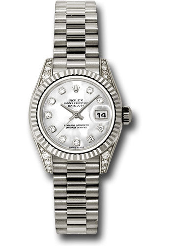 Rolex 18k president, white mother of pearl diamond dial, fluted bezel, diamond luggs model # 179239 mdp