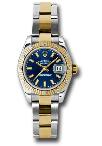 Rolex steel and gold datejust 26mm, blue stick dial, fluted diamond bezel, oyster bracelet model 179313 bso