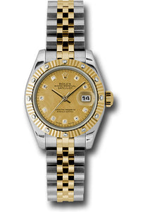 Rolex model #179313 chgdmdj, with champagne diamond dial, fluted diamond bezel