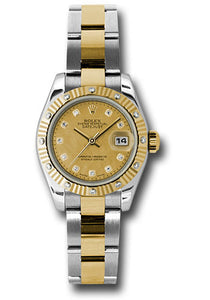 Rolex steel and gold datejust, 179313 chgdmdo, 26mm, oyster bracelet, champagne diamond dial, diamond fluted bezel.