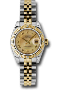 Rolex steel and gold datejust, mother of pearl honeycomb roman dial, fluted diamond bezel, jubilee braclet, model # 179313 chmdrj