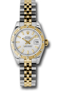 Rolex steel and gold datejust, silver stick dial, fluted bezel, jubilee bracelet, model # 179313 ssj