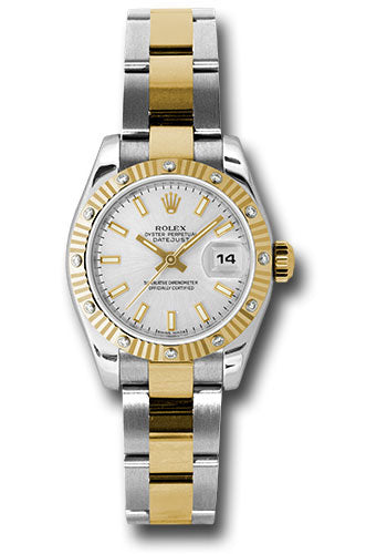 Rolex steel and gold datejust, silver stick dial, diamond fluted bezel, oyster bracelet, model # 179313 sso