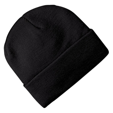 Black embroidered cuff beanies