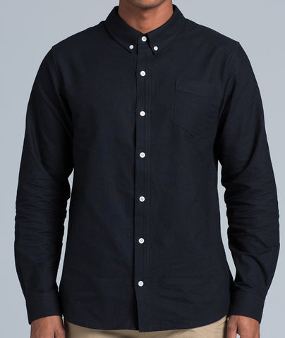 Men's Oxford Long Sleeve Shirt - Black