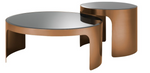 Coffee Table Piemonte Set of 2 Brushed Copper