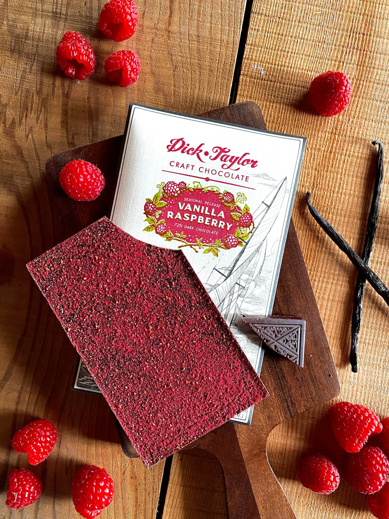 Vanilla Raspberry 72% Dark Chocolate BY DICK TAYLOR CRAFT CHOCOLATE